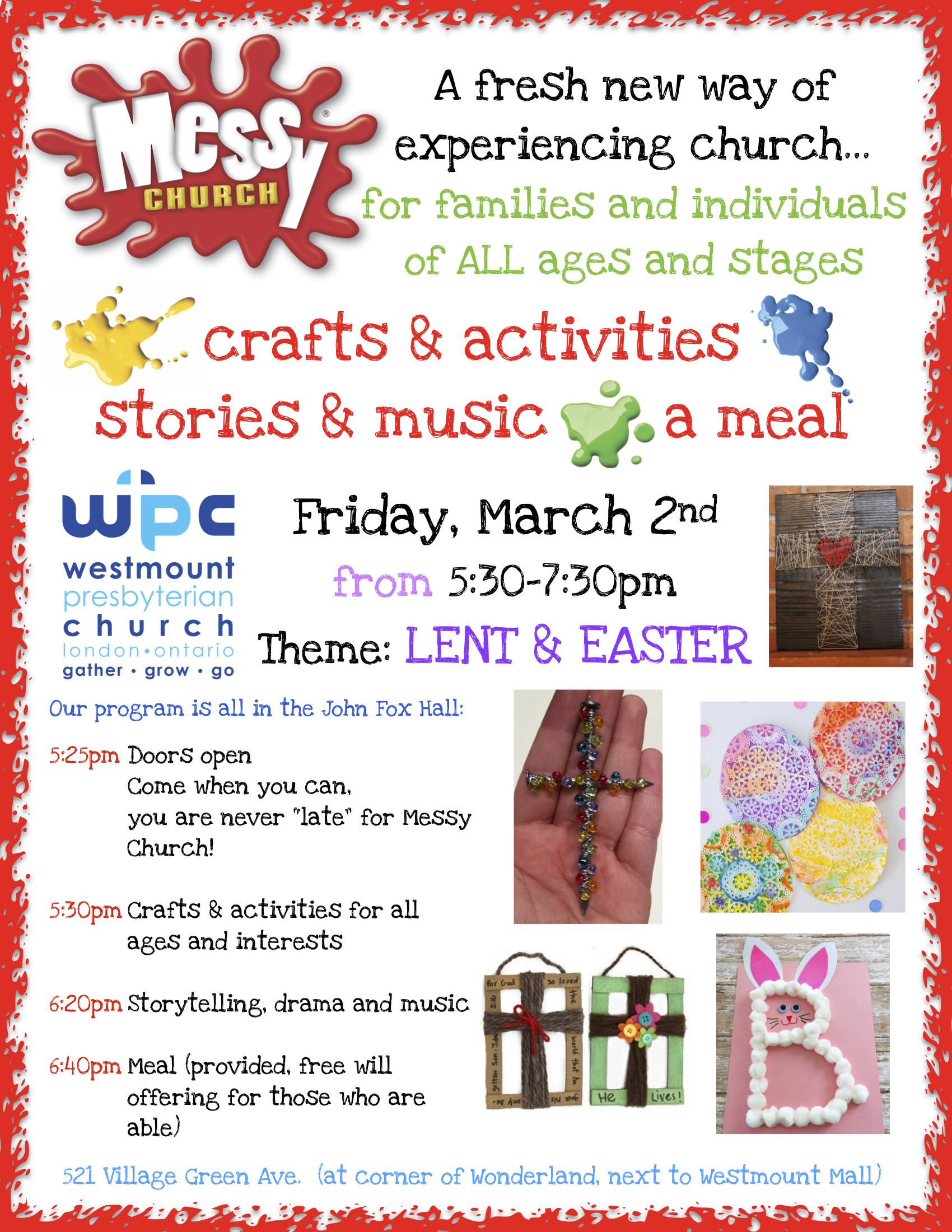 Poster Messy Church Lent Easter March 2018 Copy Westmount